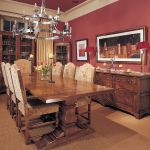 Real wood enter column refectory dinning table
